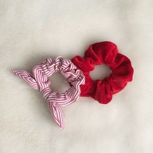 Accessories - Red Stripes & Velvet Scrunchie Set New for Bundles